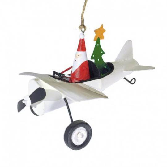 Tin Santa delivering Xmas Tree, White Plane 8cm