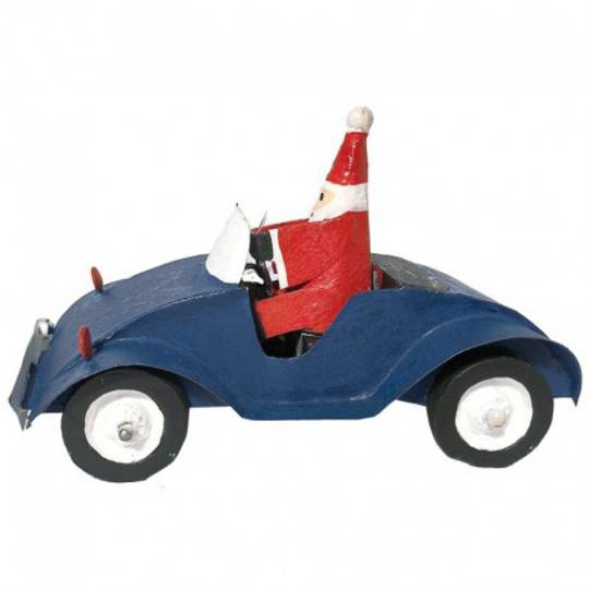 Santa in Blue Car