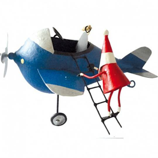 Tin Santa Climbing onto Blue Plane