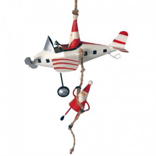 Tin Santa Under White Plane 15cm