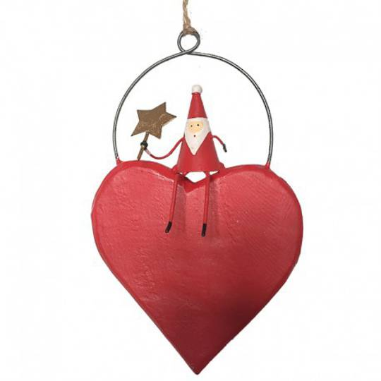 Tin Santa with Red Heart