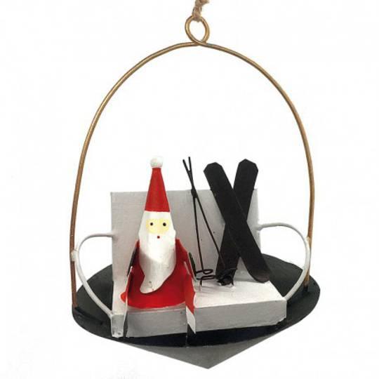 Tin Santa with Skis in Lift