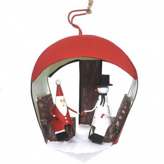 Tin Santa and Snowman in Chalet 14cm
