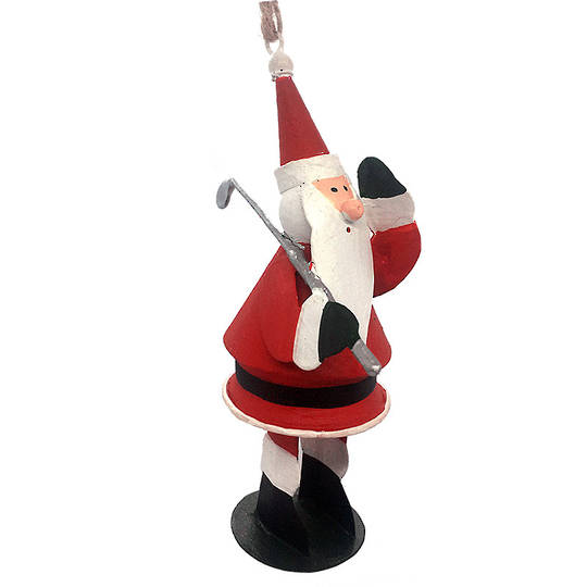 Tin Santa Playing Golf 11cm
