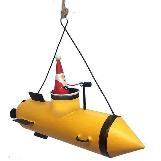 Tin Santa in Yellow Submarine 14cm