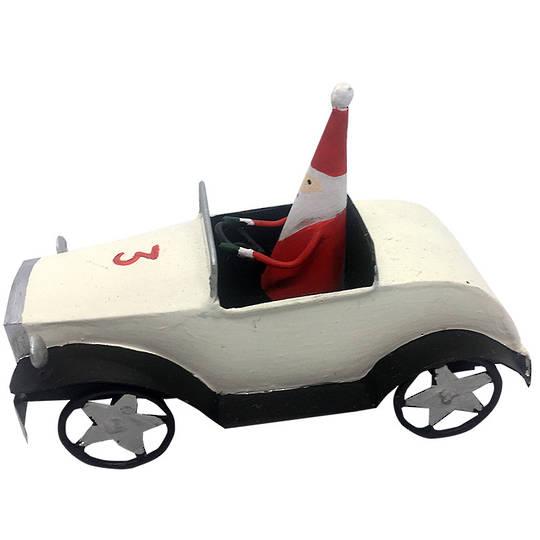 Tin Santa in White Classic Car 11cm