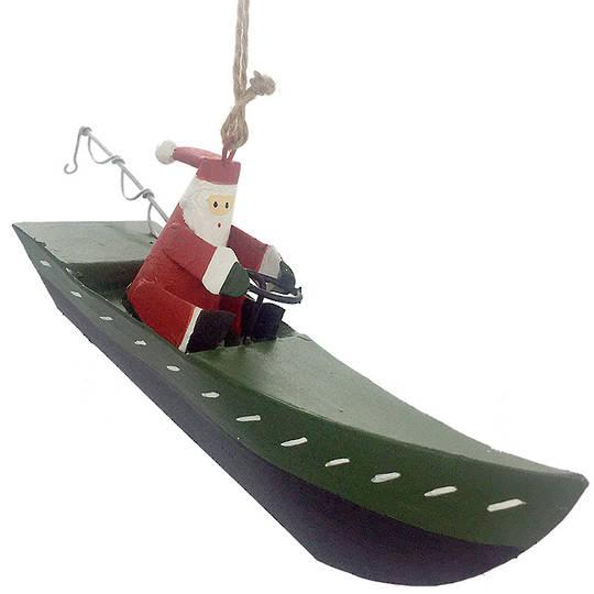 Tin Santa in Green Fishing Boat 12cm
