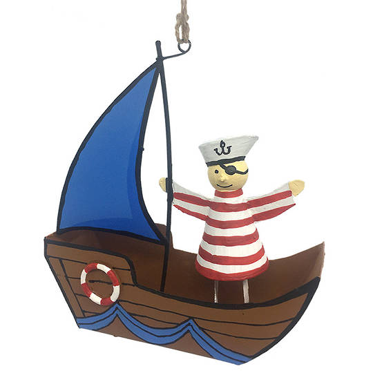 Tin Pirate Sailor on  Pirate Boat 12cm
