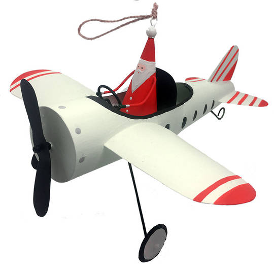 MAXI Tin Santa in White Plane 25cm