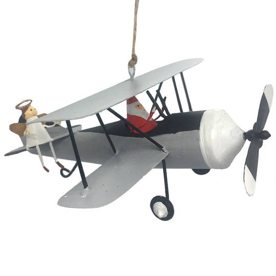 Tin Santa with Angel, White Bi-Wing 15cm