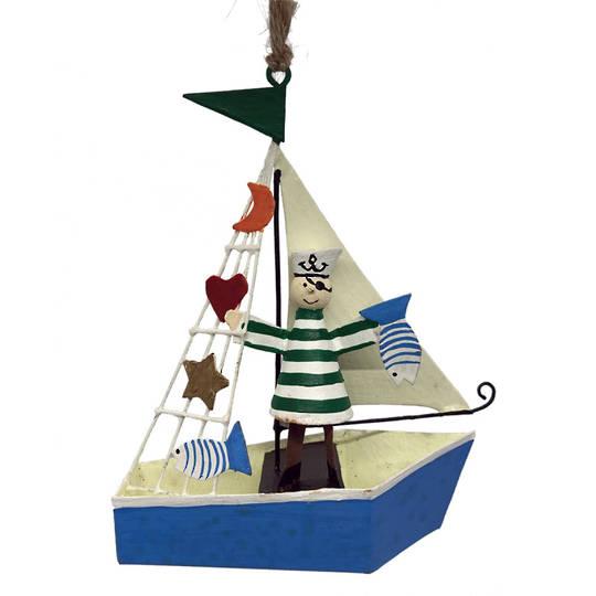 Tin Pirate Sailor on Sail Boat 12cm
