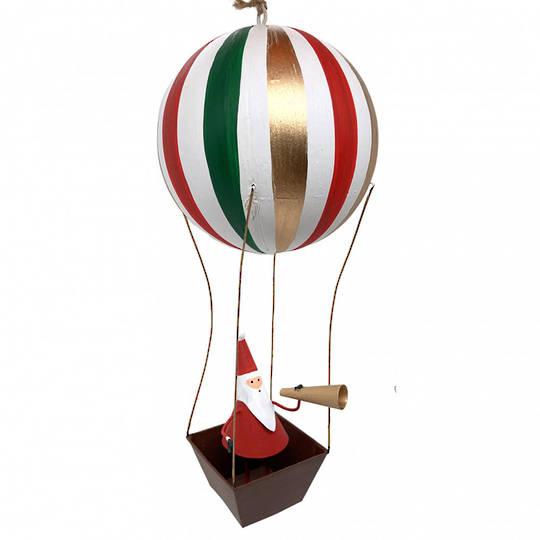 Tin Santa under Hot Air Balloon 18cm