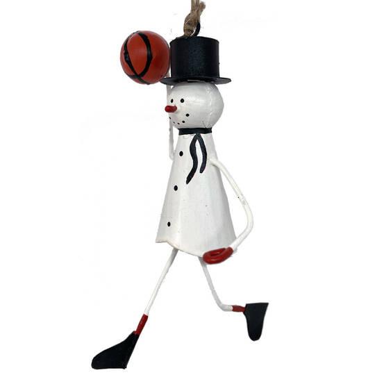 Tin Snowman Playing Basketball 11cm