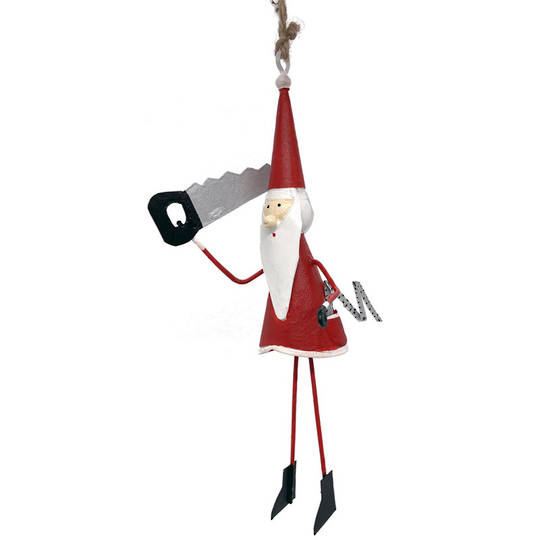 Tin Santa with Saw 11cm