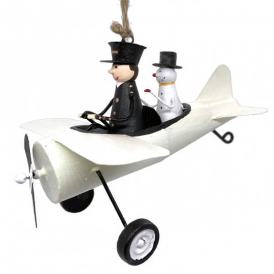 Tin Pilot and Snowman in White Plane 12cm