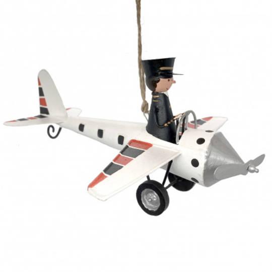 Tin Pilot in White Plane 17cm