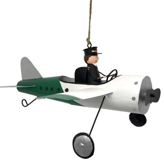 MAXI Tin Pilot in White Plane 24cm