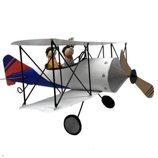 MAXI Tin Pilots in White Bi-Wing Plane 25cm