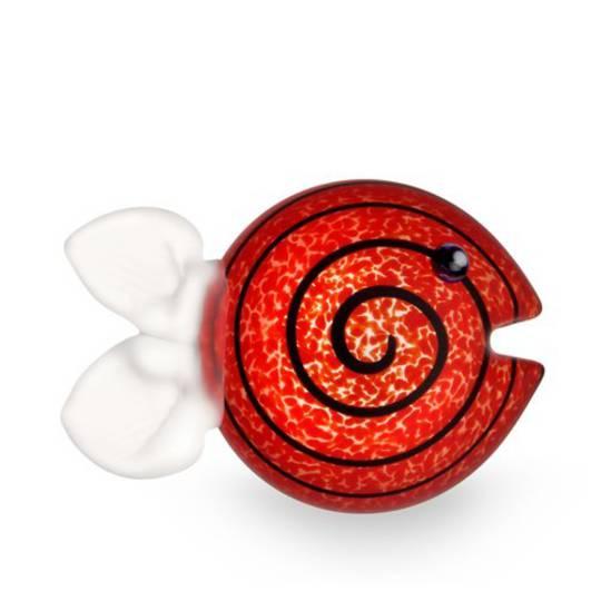 ArtGlass Guppy. Fish Paperweight. Red