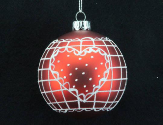 Glass Ball Matt Red, White Heart 8cm