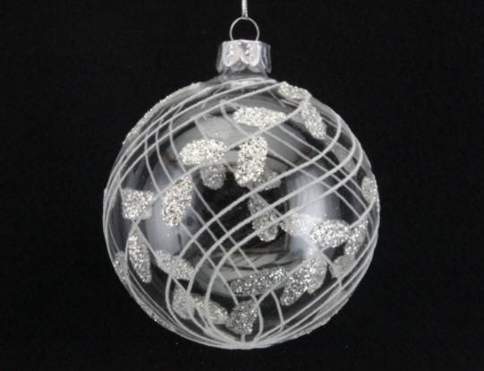 Glass Ball Clear, White Sway Vertical Lines and Leaves 8cm
