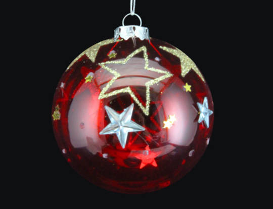 Glass Ball Trans Red, Gold Stars 8cm