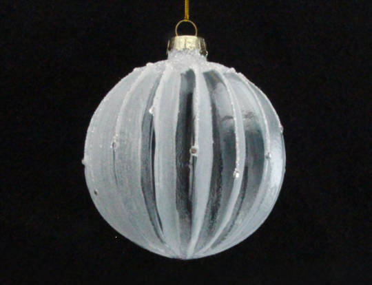 Glass Ball Ribbed Pale White Clear 8cm