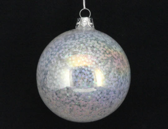 Glass Ball Clear, Iridescent Star Filled 8cm