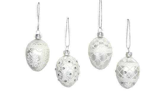 Glass Egg, White and Silver 6cm