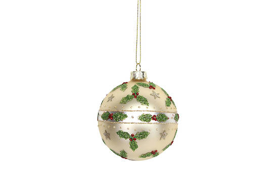 Glass Ball, Matt Gold with Holly and Stars 8cm