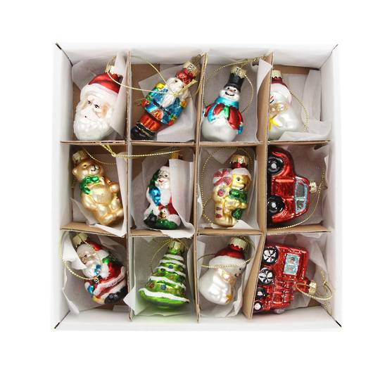 Glass Painted Mini Decorations Box of 12