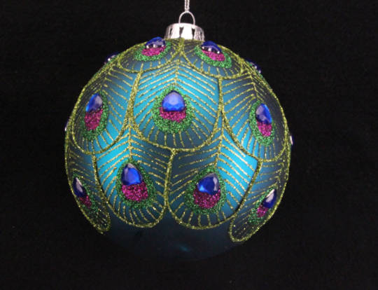 Glass Ball Turq, Feather and Gold Scallops 10cm