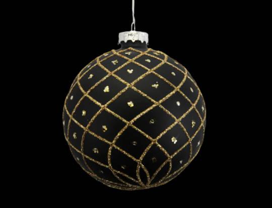 Glass Ball Matt Black, Gold Trellis 8cm
