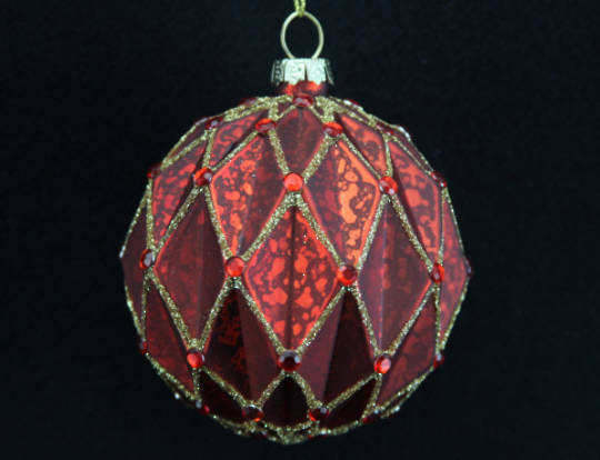 Glass Ball Matt Red, Rib Triangles with Gold 8cm