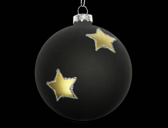 Glass Ball Matt Black, Gold Stars 8cm