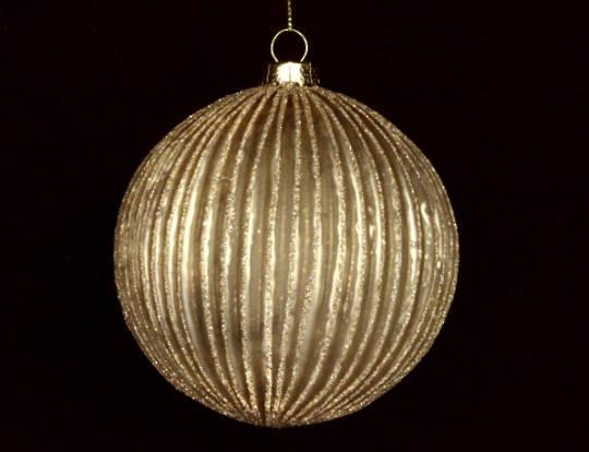 Glass Ball Matt Gold, Thin Rib 8cm