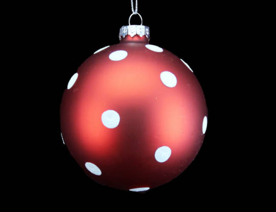 Glass Ball Matt Red, Matt White Dots 8cm
