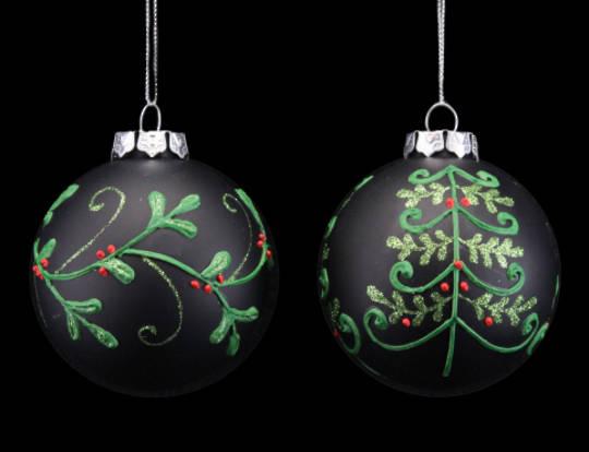 Glass Ball Black, Xmas Tree 8cm