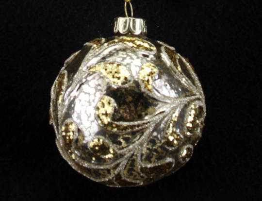 Glass Ball Clear, Antiqued Gold Leaves 8cm