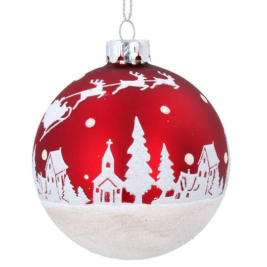 Glass Ball Matt Red, Snow Scene 8cm