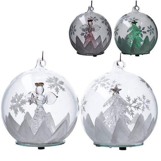 Glass Hanging Ball w/Scene and Light 12cm