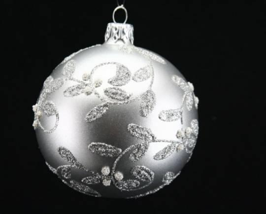 Glass Ball Matt Pewter, Silver Vine 8cm