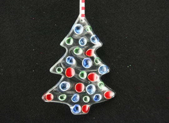 Glass Tree Clear, Red, Blue & Green Dots 10cm