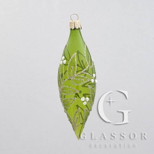 Glass Olive Transparent Green with Gold & White Mistletoe Decor 15x5cm