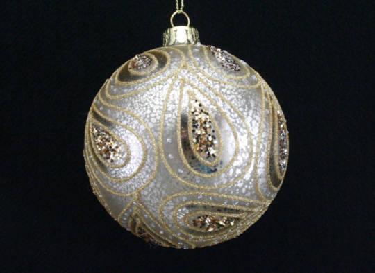 Glass Ball Antique Silver, Gold Paisley 8cm