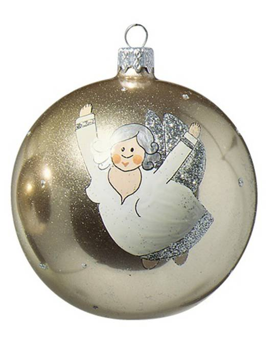 Glass Ball Gold, Chubby Flying Angel 8cm