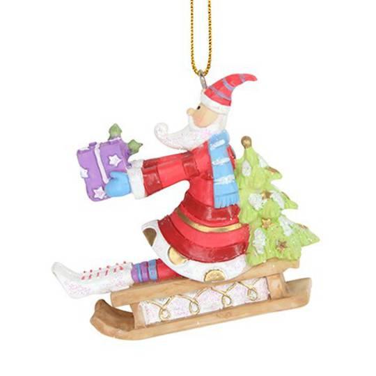 Resin Fun Winter Santa on Sledge 7cm