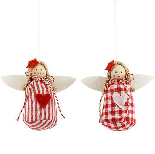 Frabric Nordic Red & White Angel 7cm