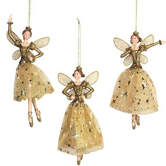 Resin and Fabric Gold Angel with Crown 18cm SOLD OUT