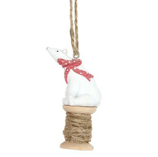Resin Polar Bear on Cotton Reel